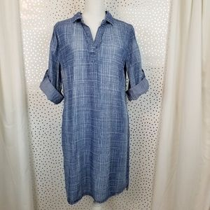 Max Jeans Chambray Style Cross Hatch Dress | Sz 12
